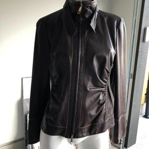 Lafayette 148 NY 100% Leather Jacket Brown Size 8
